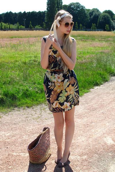puce vintage bag - orange vintage dress - dark brown American Apparel belt