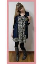 Zara boots - vintage dress - Rinascimento vest - American Apparel leggings - H&M