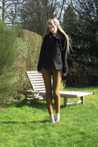 black H&M jacket - puce Zara heels - mustard American Apparel pants - light purp