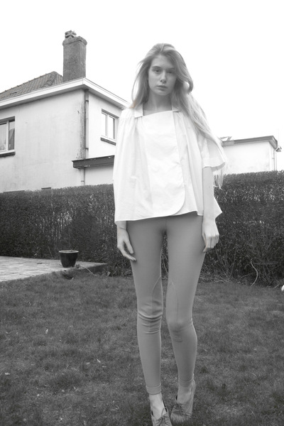 beige American Apparel shoes - beige American Apparel pants - ivory COS blouse