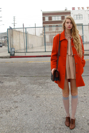 nude American Apparel shirt - carrot orange vintage coat