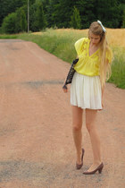black vintage bag - puce Zara heels - ivory American Apparel skirt - yellow Zara