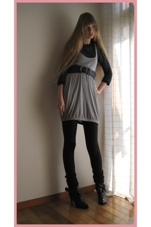 H&M dress - Lois Crayon sweater - H&M belt - American Apparel leggings - vintage