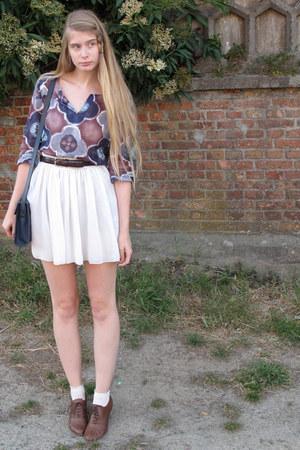 violet Melvin blouse - ivory American Apparel skirt - crimson American Apparel b