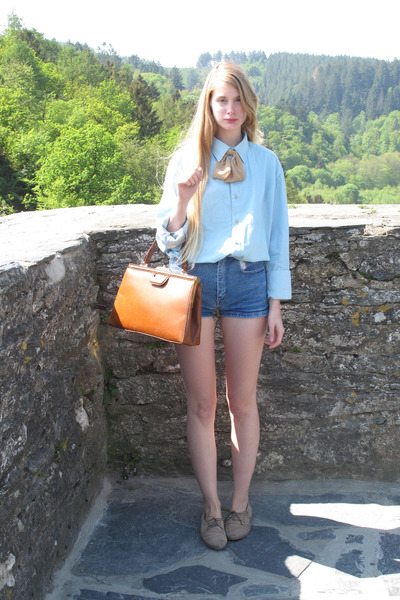 sky blue American Apparel shirt - tan American Apparel scarf - burnt orange vint