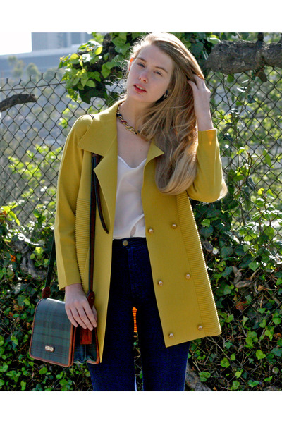 mustard vintage cardigan - white American Apparel top