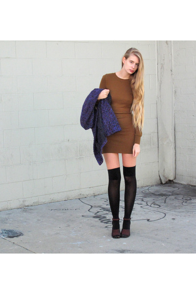 light brown American Apparel dress - black American Apparel socks