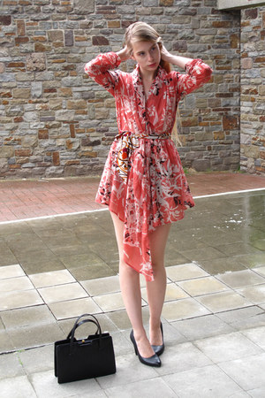 coral Promod dress - black vintage bag - tawny vintage belt