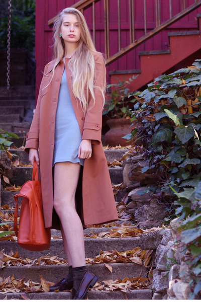 coral vintage coat - periwinkle vintage dress