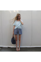 blue American Apparel top - blue American Apparel shorts - beige Zara shoes