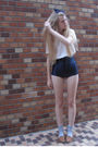 White-american-apparel-top-blue-american-apparel-shorts-beige-zara-shoes