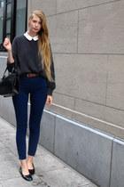 dark gray American Apparel sweater - white American Apparel shirt - navy America