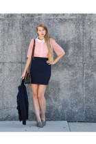 pink American Apparel blouse - white American Apparel shirt - navy vintage skirt