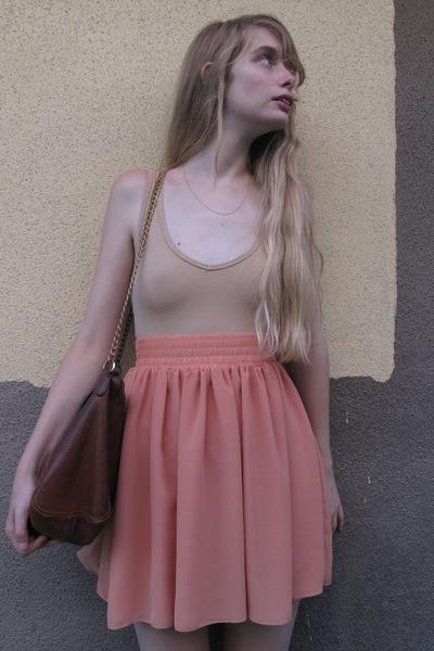 brown APC bag - beige American Apparel swimwear - pink American Apparel skirt