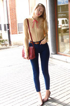 nude American Apparel shirt - crimson vintage bag - navy American Apparel pants