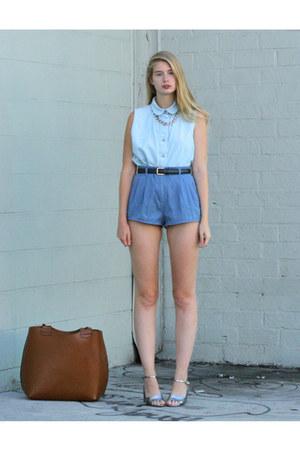 blue DIY shorts - light blue American Apparel shirt - silver Marc Jacobs sandals