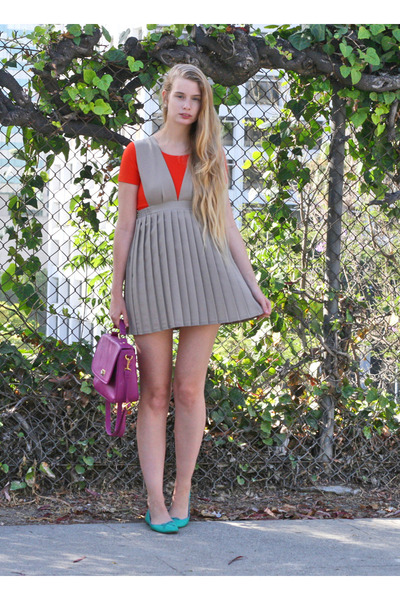 beige uniform dress - red American Apparel top - turquoise blue JCrew flats