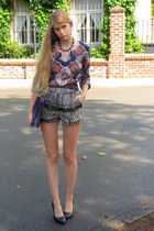 black H&M shorts - puce Melvin blouse