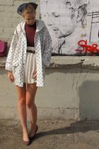 navy vintage coat - ivory American Apparel skirt - magenta American Apparel top