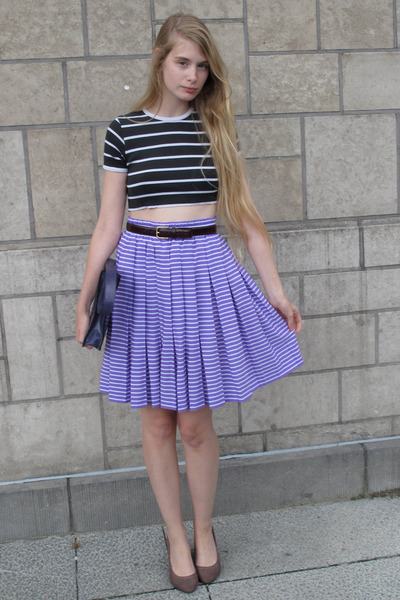 black vintage top - purple vintage skirt - crimson American Apparel belt
