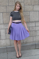 black vintage top - purple vintage skirt - crimson American Apparel belt