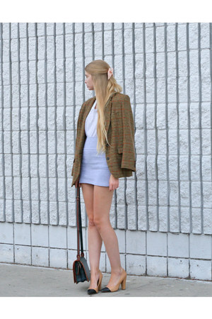 brown vintage jacket - heather gray American Apparel skirt