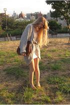 dress - cardigan - belt - shoes - purse