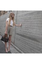 white American Apparel top - beige American Apparel shorts - brown American Appa