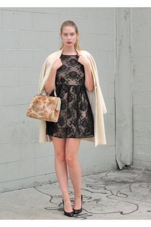 black American Apparel dress - eggshell vintage coat - coral vintage bag