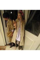 purple American Apparel dress - gray American Apparel tights - beige Zara shoes