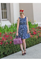 navy Zara dress - amethyst Furla bag - red American Apparel accessories
