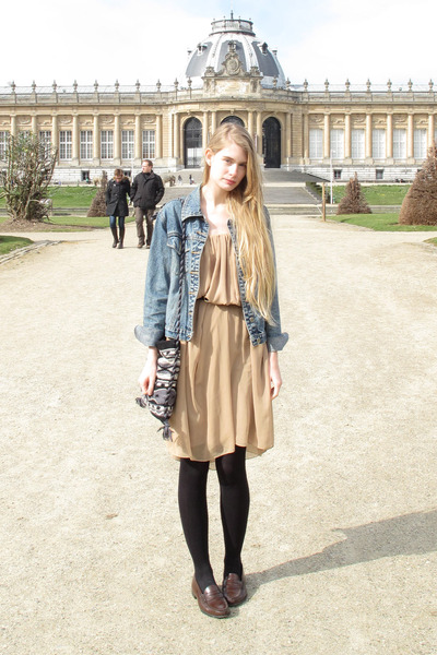 tan American Apparel dress - navy vintage jacket - dark brown Haruta loafers