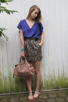 light pink Miu Miu bag - heather gray Zara skirt - blue Zara blouse