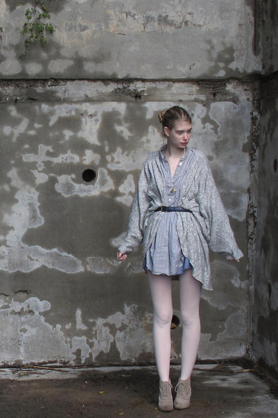 periwinkle vintage dress - heather gray American Apparel sweater - blue American