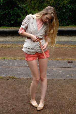coral American Apparel shorts - salmon American Apparel blouse