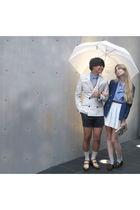 white American Apparel skirt - blue American Apparel shirt - blue H&M blazer