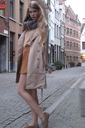 beige American Apparel coat - gold American Apparel sweater - burnt orange Ameri