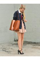navy vintage cardigan - beige Zara skirt - red American Apparel top
