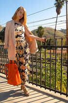navy vintage dress - neutral H&M jacket - carrot orange banana republic bag
