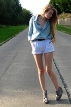 heather gray lulus sandals - light blue American Apparel shirt
