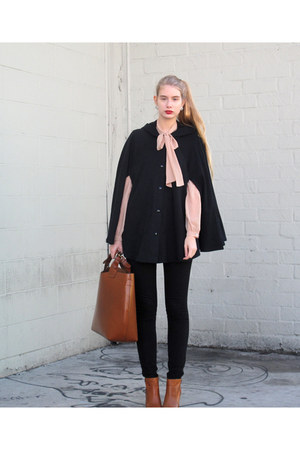 black American Apparel cape - burnt orange boots boots