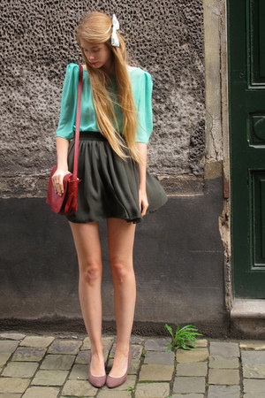 maroon vintage bag - green American Apparel skirt - aquamarine American Apparel