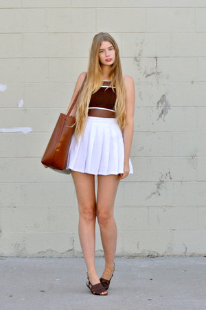 brown Zara bag - white American Apparel skirt - dark brown vintage swimwear