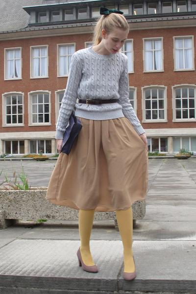 periwinkle American Apparel sweater - mustard American Apparel tights - deep pur