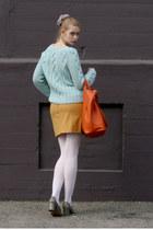 aquamarine vintage sweater - carrot orange banana republic bag