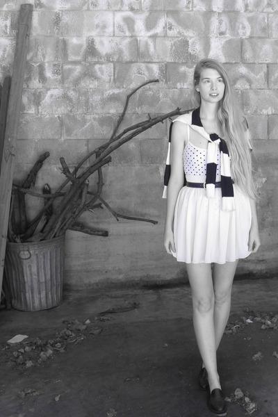 ivory American Apparel skirt - navy American Apparelm sweater