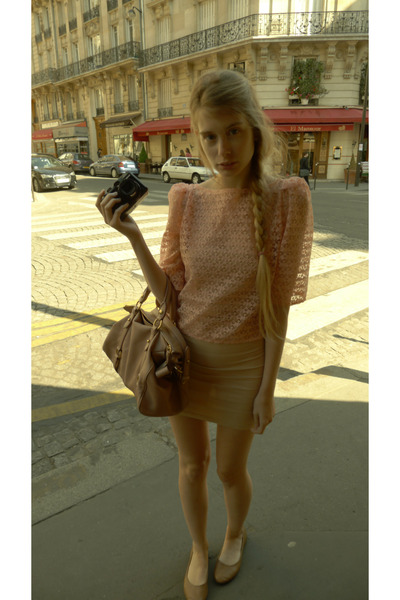 nude American Apparel dress - light pink Miu Miu bag - pink American Apparel blo