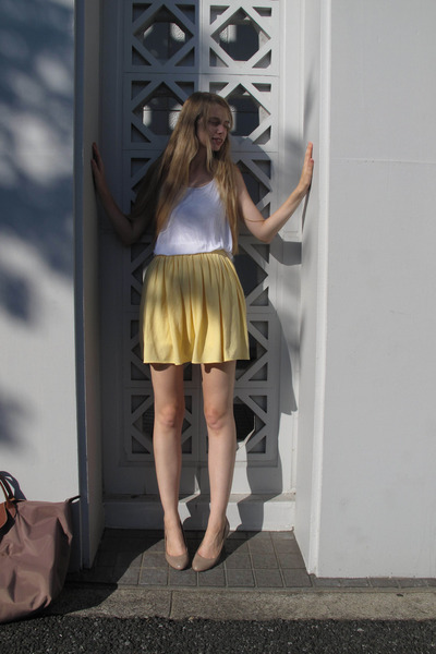 yellow American Apparel skirt - white American Apparel top - brown longchamp pur