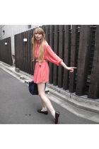 pink American Apparel shirt - blue longchamps purse - white American Apparel soc