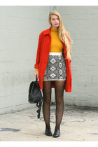 black Forever 21 skirt - red vintage coat - mustard American Apparel top